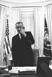 President Lyndon Johnson on the telephone on the day the Warren Commission was announced, 29 Nov 1963.