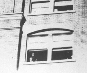 Crop of Dillard photo showing Bonnie Ray Williams and Junior Jarman on fifth floor moments after the shooting