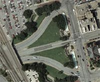 Google Maps satellite view of Dealey Plaza