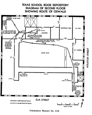 Warren Commission's plat of Oswald's known route