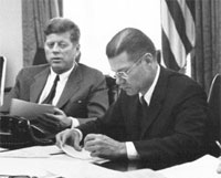 JFK and Defense Sec. McNamara during the Cuban Missile Crisis. McNamara pursued JFK's Vietnam withdrawal plans, and then in the Johnson administration reversed course and oversaw a widened war.