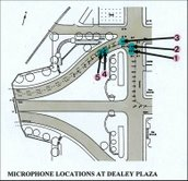 Map showing locations of microphones at 18-foot intervals in Dealey Plaza during the 1978 acoustic tests