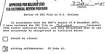 1975 CIA record identifying Priscilla Johnson as a