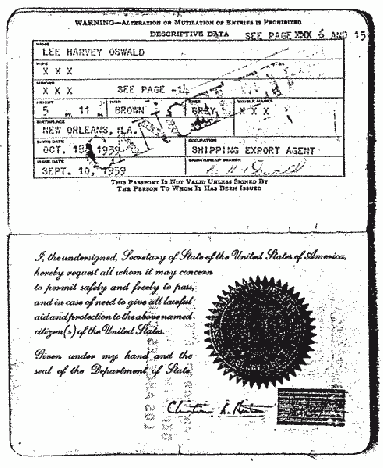 1959 passport described Oswald as a 'shipping export agent'