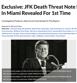 Exclusive: JFK Death Threat Note from Nov. 1963 in Miami Revealed For 1st Time