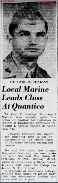 1950 newspaper article on then-Marine Carl Jenkins, who remains 'in the background' of these stories.