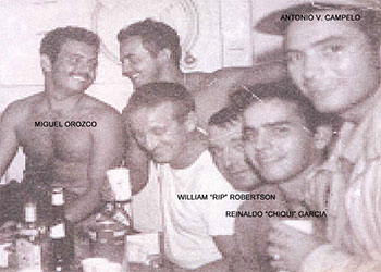 William 'Rip' Robertson (3rd from right) with Cuban maritime mission team in 1962
