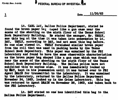 11/30/63 FBI report on paper bag