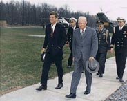 President Kennedy and former President Eisenhower a few days after the failed Bay of Pigs invasion of Cuba, 22 Apr 1961.