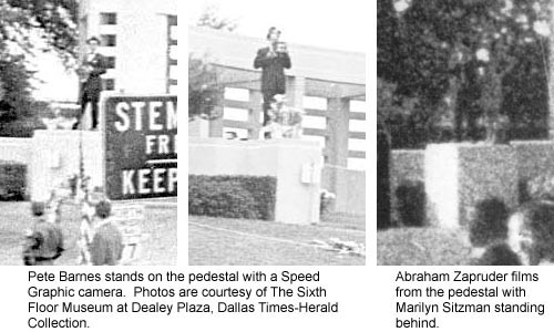Figure 25. Photos of Pete Barnes and Abraham Zapruder on pedestal show they filmed from slightly different positions