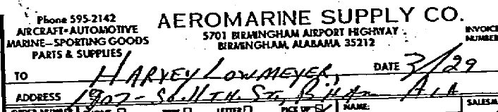 Closeup of address on rifle receipt