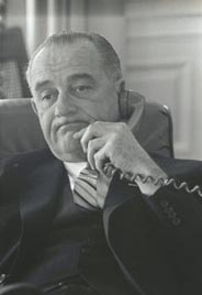 President Lyndon Johnson on the telephone.
