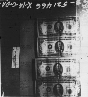 Four $100 bills found on Sirhan at the time of his arrest