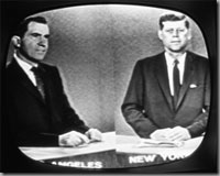 The candidates on a 1960-era television.