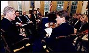President Clinton meeting with members of the Assassination Records Review Board.