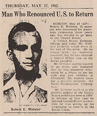Newspaper article announcing Robert Webster's return to US