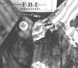 Crop of photo of FBI exhibit 60, JFK's shirt