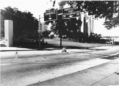 Photo taken of microphones on Elm Street in Dealey Plaza during the HSCA's acoustical testing