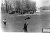 National Guardsmen and student protesters at Kent State in 1970